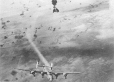 This one belongs to 457th Bomb Group of the United States Air Corps attacked by Flak over 'Flak-Alley'