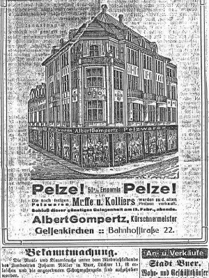 Advertisement in the Gelsenkirchener Allgemeine Zeitung (Daily Newspaper) on February 8, 1916. Click the Photo to learn more about the Gompertz' store and factory in Gelsenkirchen 1909.