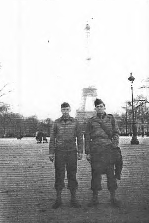 On my first pass to libarated Paris on November 25, 1944. Albert and Pvt. Veight near Eiffel Tower.