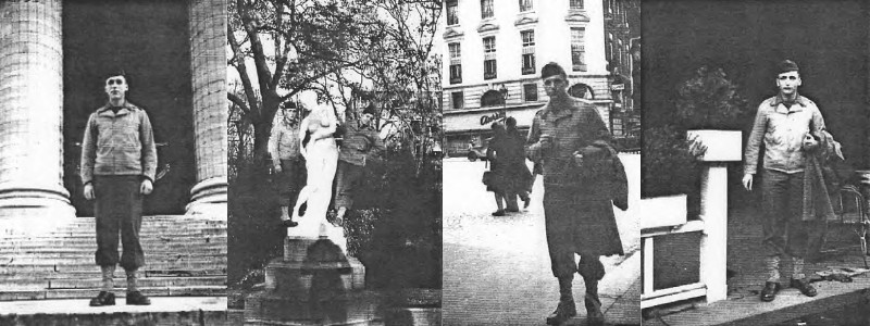 After finding Uncle Marcel and Aunt Sophie they showed me around Paris. At right I am posing outside Cafe De La Paix on the left bank.