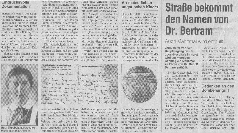 Artikel in der WAZ Gelsenkirchen, 7. September 1996