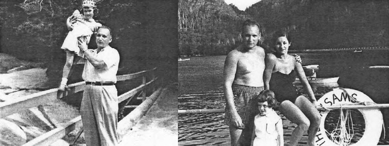 Left: Albert taking his daughter for a walk, right: Carole and her parents at the lake of the Balsams