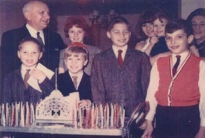 Chanukah candle lightning at Opa & Omi's house in 1963. Kenneth, Jeffrey, Ron,Mark, in back row: Opa, Sheryll, Carole, Steven & Omi