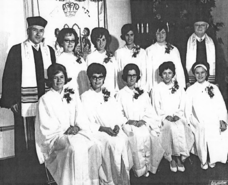 Carole's confirmation at Congregation Habonim in 1965. Rabbi Hugo Hahn at right and Asst. Rabbi Bernhard Cohn on left