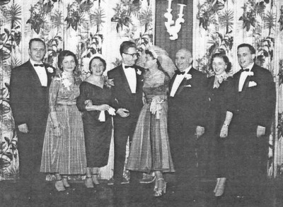 Fred and Rita's wedding. February 1st, 1953. Albert & Margot, Mother Betty, Fred & Rita, Father Leo, Ruth & Ralph