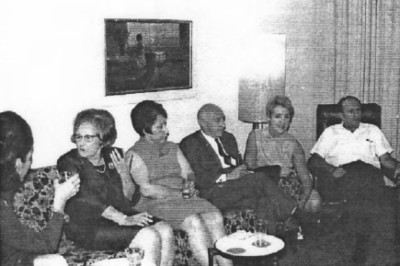 Uncle Herbert Isacson with his wife Vera on his only visit to the USA in New York in 1967 at Uncle Marcel's and his wife Claire's apartment in Forest Hills. On far left (side view: Margot with long hair) in center Aunt Fella
