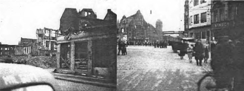Photos taken by Albert Gompertz while visiting Gelsenkirchen as U.S. Soldier in October 1945. Isacsons house and business bombed out. Right: View of Main Railroad Station from Bahnhofstrasse