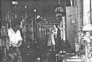 Albert and co-workers at housery knitting machines in Long Island City 1941