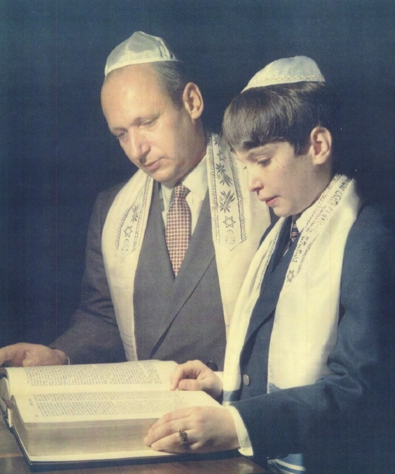 Mark's Barmitzvah on April, 1st, 1967 at Congregation Habonim. On Bima with his father, reading from Hagadah