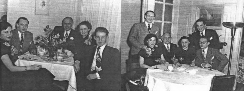 Left: Silver Wedding Herta  Theo Nathan on April 16, 1948 festivities at the Nathan apartment. Margot, Albert, Theo Herta Herbert. Right: The Gompertz Family at Nathan's Silver Wedding, Margot, Albert, Leo, Betty, Ralph and Fred.