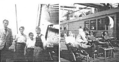 This two Photographs showing Mutti and the three boys onboard the M.S. Statendam sailing to the USA