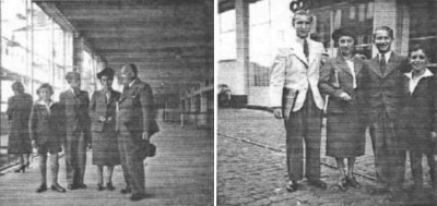 On the Holland America Line Pier in Rotterdam on September 3rd, 1939. Left Picture: Rolf, Fritz Betty and Leo. Right Picture: Albert, Betty, Fritz and Rolf