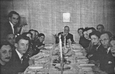 Passover 1948 at the Gompertz, left to right: Betty G., Herbert N., the Goldshmith (Cousins of Lorants) standing: Ralph, the Loranzs and son, Leo G., Betty Stamm, Herta and Theo Nathan, Albert&Margot, Marcel and Sophie Isacson.