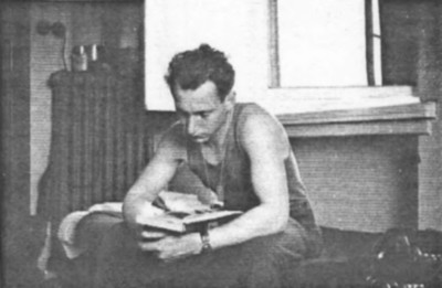On July 1st we left Eisleben on our way to Berlin We made a stop in Halle and the photographs shows Albert on his bunk reading in our temporary quartiers.