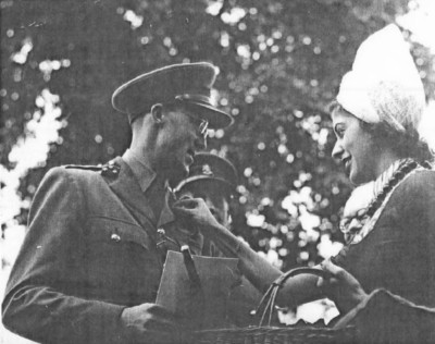 Tine Wynshenk, she married my uncle Lutz Isacson, shown presenting a medal to Prince Bernard of the Netherlands in wartime England
