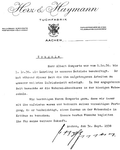 Letter from Herz&Haymann in Aachen. Reference after having served 2 years as apprentice