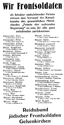Reprint from the Gelsenkirchener Zeitung of May 5, 1933. Translation of above: We Frontsoldiers, as owners of the following listed businesses, must strongly object to the accusation by the Combat Group of the Professional Middle Class, that we are
