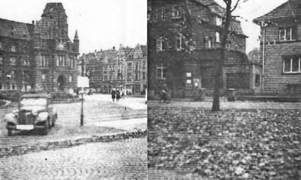 Photos taken by Albert Gompertz while visiting Gelsenkirchen as U.S. Soldier in October 1945. Das alte Rathaus (City Hall) at Machensplatz. Right: Formerly the Gompertz Garden on Zeppelinallee, now occupied by a house built by a Dr. Schmitt?